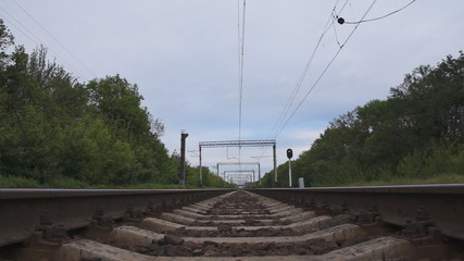 railroad and skies