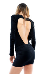 Sensual girl with black dress heart-shaped neckline in the back