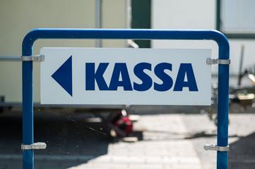Schild Kassa
