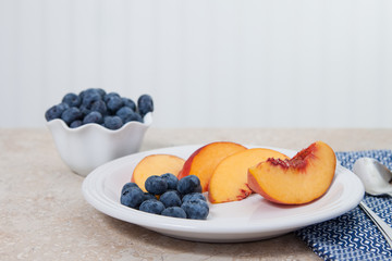 Fresh blueberries and peaches