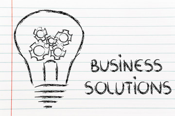 business solutions, lightbulb with gearwheels