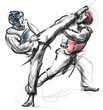 Tae-Kwon Do. An full sized hand drawn illustration on white