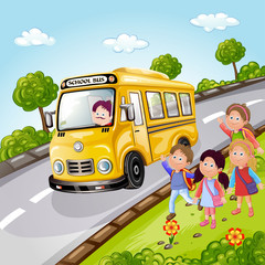 Illustration of kids and school bus in nature