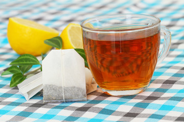 Tea, tea bags and lemon