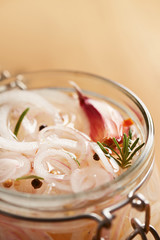 Homemade pickled onions in a jar