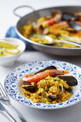 Typical spanish seafood paella