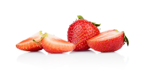 Several sliced strawberries isolated
