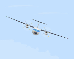 Turboprop airplane in flight