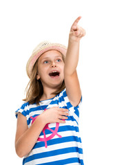 Young beautiful smiling girl pointing up