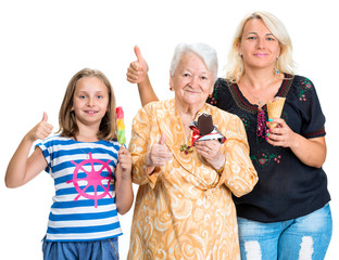 Three generations of happy women with ice cream