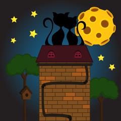 black cat under moon - vector illustration, eps