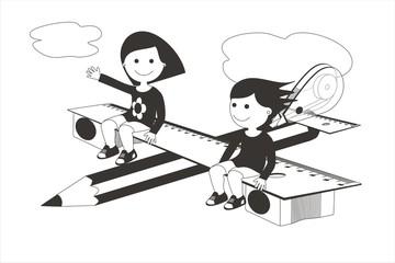 Avión y material escolar niñas BN