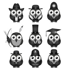 Monochrome various bird characters collection
