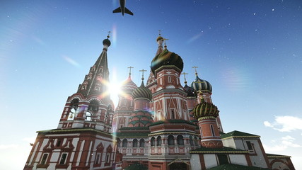 Plane passing at The Cathedral of Vasily the Blessed in Moscow