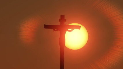 Jesus Christ crucified at sunrise