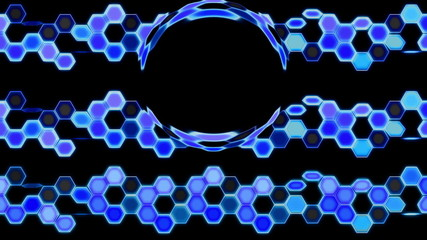 Blue Looping Hexagon Tech Abstract with ocular effect