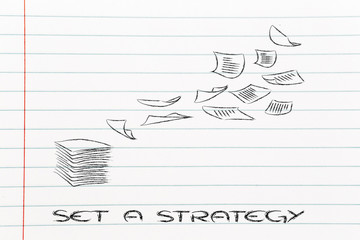 pile of business documents, set a strategy