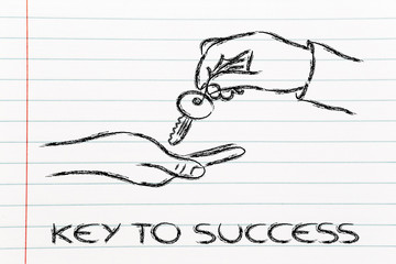 unlock your potential, hands holding metaphor key to success