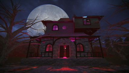 Haunted house on a full moon