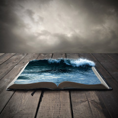 Ocean on an open book