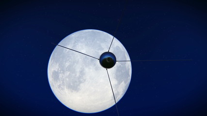 Satellite Sputnik flying over the moon