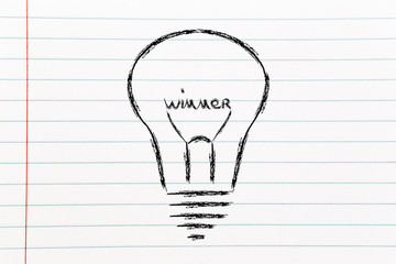 lightbulb with filament saying Winner