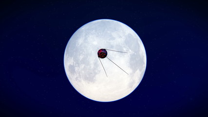 Satellite Sputnik flying over the moon