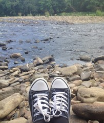 sitting beside the river