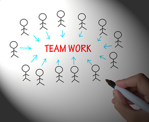 Teamwork Stick Figures Shows Working As A Team
