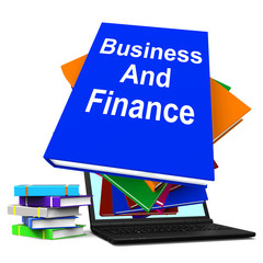 Business And Finance Book Stack Laptop Shows Businesses Finances