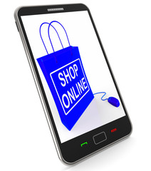 Shop Online Bag Shows Internet Shopping and Buying