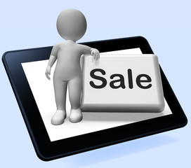 Sales Button With Character Tablet Shows Promotions And Deals