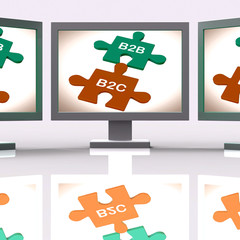 B2B And B2C Puzzle Screen Shows Corporate Partnership Or Consume