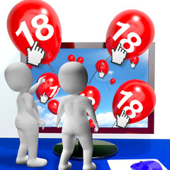 Number 18 Balloons from Monitor Show Internet Invitation or Cele