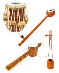 Set with traditional Indian musical instruments