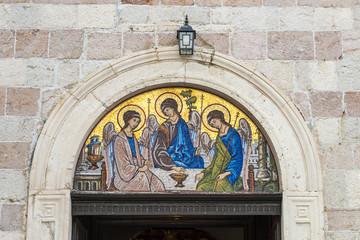 Mosaic orthodox icon of the Trinity in Montenegro