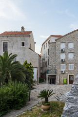 narrow streets and old houses in Budva. Montenegro