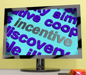 Incentive Word Screen Shows Motivation Enticement Or Reward