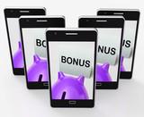Bonus Piggy Bank Shows Incentive Extra Or Premium poster