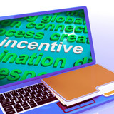 Incentive Word Cloud Laptop Shows Bonus Inducement Reward poster
