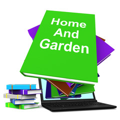 Home And Garden Book Stack Laptop Shows Books On Household Garde