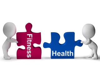 Fitness Health Puzzle Shows Healthy Lifestyles