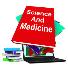 Science And Medicine Book Stack Laptop Shows Medical Research