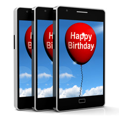 Happy Birthday Balloon Shows Cheerful Festivities and Parties