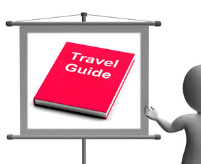 Travel Guide Sign Shows Information About Travels