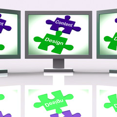 Content Design Puzzle Screen Shows Promotional Material And Layo