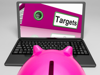 Targets Laptop Means Aims Objectives And Goal setting