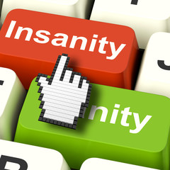 Insanity Sanity Keys Shows Sane And Insane Psychology
