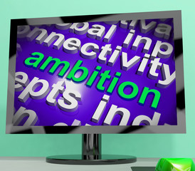 Ambition Word Cloud Screen Means Target Aim Or Goal