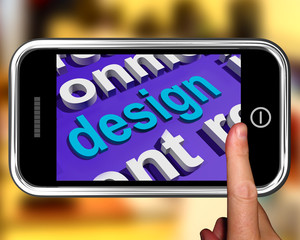 Design In Word Cloud Phone Shows Creative Artistic Designing